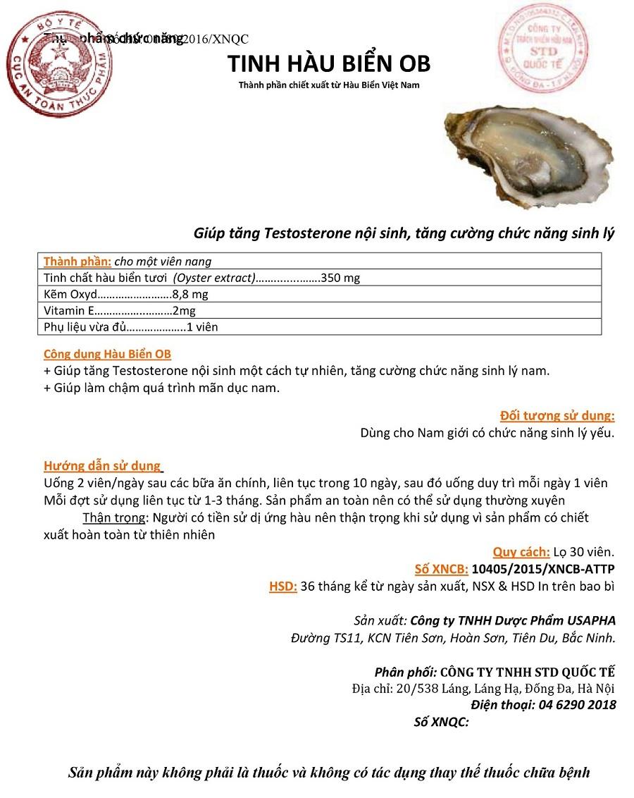 Cục an toàn thực phẩm phê duyệt tinh hàu biển OB